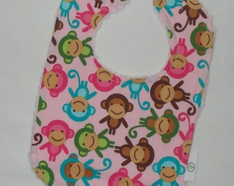 Pink Monkeys Chenille Bib