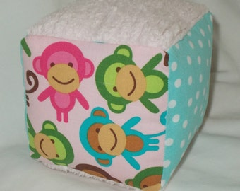 Pink Monkeys and Chenille Fabric Block Rattle