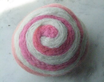 One multi-colored felted pin-cushion, Pink and White