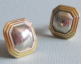 Vintage YSL Earrings, Square Jewelry, Designer Jewelry, Mixed Metals, Haute Couture, Yves Saint Laurent, Paris Jewelry
