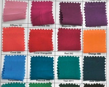 """Satin chiffon fabric color chart.. 60"""" wide.. light weight, semi sheer dull silky chiffon.. great for formal wear, dresses, blouses,decor"""