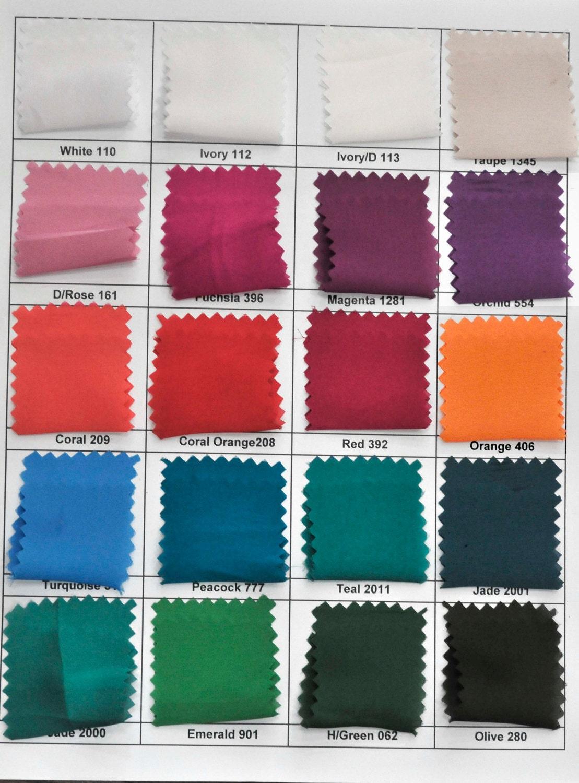 Satin Chiffon Fabric Color Chart 60 Wide Light