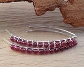 Open Hoop Garnet Earrings - Sterling Garnet Earrings - Rhodolite Garnet Earrings - Wire Wrapped Earrings - Garnet Jewelry