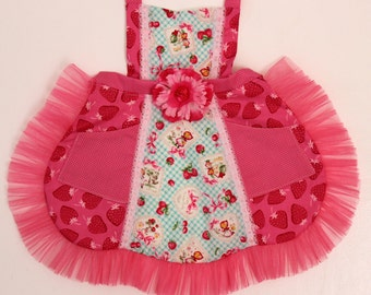 Pink Strawberry Girl Apron