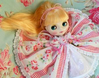 SALE...Blythe...Marie Antoinette Inspired....Floral Dress for Blythe Dolls...Handmade and OOak