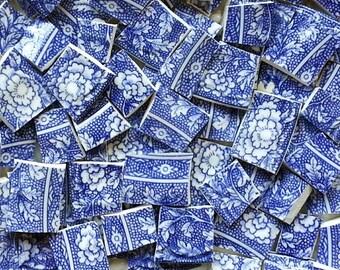 Mosaic Tiles--Floral Blue Vintage -100 tiles