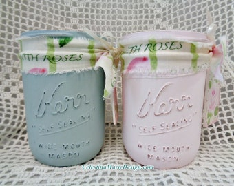Kerr Wide Mouth Canning Jar Set with Wood Rose Tag, Hand Painted, Distressed, Pink, Aqua with Homespun Fabric, Beach, Display, Shabby, ECS