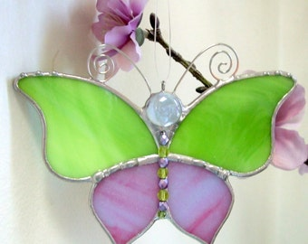 Stained Glass Butterfly Suncatcher Ornament Lime & Lavender or Sky Blue and Peach