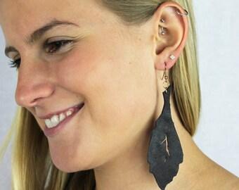 Ash Brown Leather Leaf Earrings