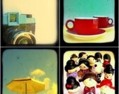 Nostalgic Retro Colorful TtV Photography Print Set - Vintage Style Photos - Bright and Cheery Home Decor Turquoise, Yellow, Red