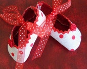 Oh Baby - Shoes, in Rosy Red Polka Dots with Red Chevron Soles - Newborn