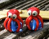 Squids, Lampwork Bead Pair, Simply Lampwork by Nancy Gant, SRA G55
