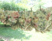 Two Vintage Window Valances - Ruffled Balloon Curtains - Multi Floral