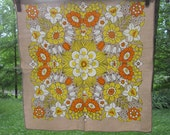 Three Vintage Linen Blend Napkins - Beige Yellow Orange