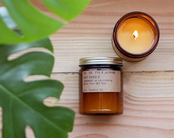 No. 09: FIG & JASMINE - 7.2 oz soy wax candle - Mediterranean / fruity notes / green florals - P.F. Candle Co.
