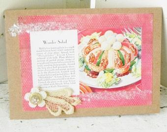 Handmade Vintage Recipe Greeting Card Wonder Salad  Homespun Card Antique Button Lace Trim OOAK