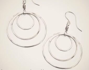 sterling silver triple hoop earrings circle earrings interlocking entwined hoop silver hoop earrings gift for her everyday earrings handmade