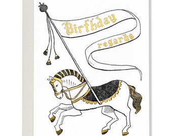 Birthday Regards Heraldic Horse Card