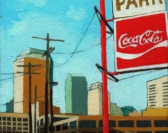 Coca Cola Park cityscape,skyline,urban art