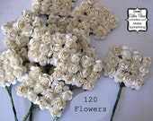 120 Ivory Paper Flowers - small bouquet - weddings - favors - invitations - paper goods