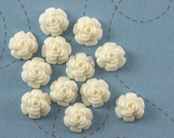 12 Ivory Resin Roses - 12 mm cabochon - Scrapbooking, Jewelry Design, Collage Flowers Floral