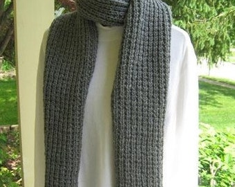 Gray Heather Reversible Handknitted Scarf