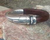 Distressed Brown Magnetic Bangle Bracelet with CZ Accents and High Polished Spacers.