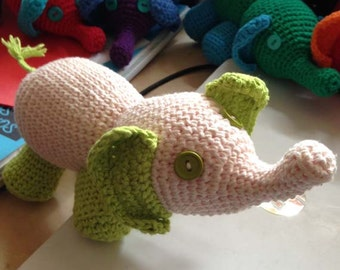 Amigurumi Elephant Stufed Toy in Pink and Green