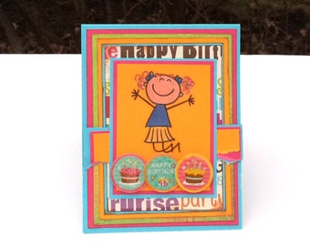 Girl's Child's Kid's Children's Birthday Card, Happy Birthday, Yellow and Pink Card, Girl Jumping Card, Happy Birthday Card