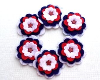 Felt Flowers, Red White Blue Red Metal Star Brads Scrapbooking Card Making Embellishments