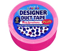 Duct Tape  - with Stick-On Bling Gemstones - Hot Pink - 10 yards