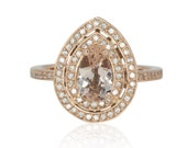 Rose Gold Engagement Ring - Pear cut Morganite and Diamond Double Halo Filigree Basket Engagement Ring in 14k Rose Gold – LS4326