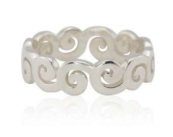 Laurie Sarah Plain White Gold Swirling Waves Stacking Ring - LS4210