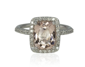 Morganite Ring, 2 Carat Peach Pink Morganite and Diamond Halo Solitaire Engagement Ring - Brooklyn Collection - LS4272