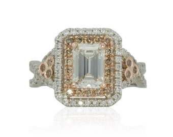 Emerald Cut Engagement Ring, Diamond Engagement Ring with Double Halo and Champagne Diamond and Rose Gold Accents - LS4118