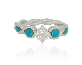 Turquoise Engagement Ring, Nontraditional Diamond Engagement Ring with Turquoise Filled Infinity Twists - LS4187