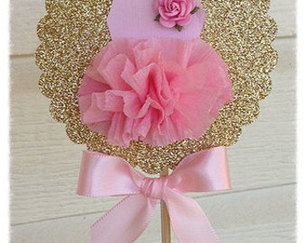 Shabby Chic Decorative Wand Ballet Party Cake Topper for Birthday Party Ballerina