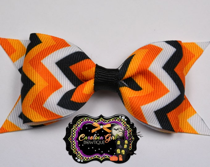 "Halloween Chevron Tuxedo Bow ~ 3.5"" Hairbow ~ Small Hair Bow ~ Girls Barrette ~ Toddler Bow ~ Baby Hair Bow ~ Hair Clip ~ Girls Hair Bow"
