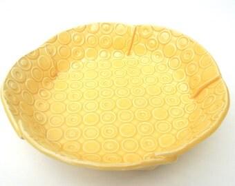 Medium Yellow Deeply Textured Circle Handmade Ceramic Pottery Serving Bowl - Mod Print