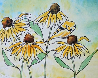 Fine Art-Watercolor Painting of a Goldfinch and Black Eyed Susan Flowers, Floral, Botanical, Original Painting