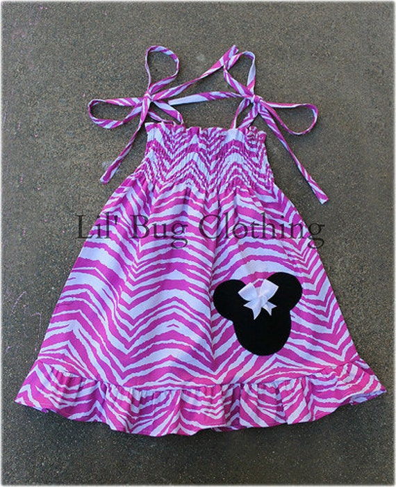 Custom Minnie Mouse Pink and White  Zebra Smocked Dress