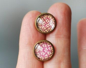 Brass Stud Earrings, Fuchsia Earrings, Dark Pink and Ivory Earrings, Paper Jewelry, Post Earrings, Circuit Board, Graphic Jewelry