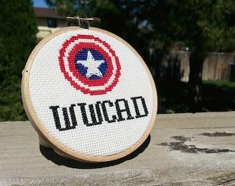 WWCAD? What Would Captain America Do Cross Stitch Kit - Random Fandom April 2015