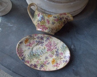 Chintz Lord Nelson ware Chintz Sauce boat and under plate made in England
