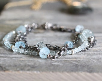 Aquamarine Stacking Chain Bracelet. Layer Bracelet. Sterling Silver and Icy Blue Aquamarine. March Birthstone