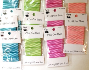 Fold Over Elastic Polka dot Dritz Half Inch LOT 12