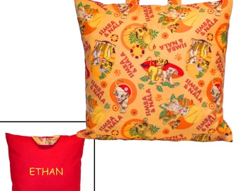DAY CARE PILLOW - Made From Lion King Simba and Nala Fabric - Great for Travel & Car Trips!