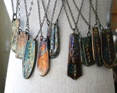 Stamped Word Spoon Handle Patina Pendant