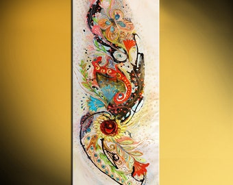 """66 inch oriental abstract painting on canvas """"Trace of Salamander"""" orange rose blue red color white background thick paint huge wall hanging"""