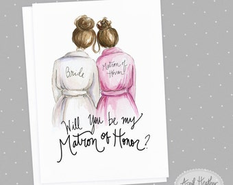 Matron of Honor PDF Download brunette bride, brunette matron of honor card, printable PDF